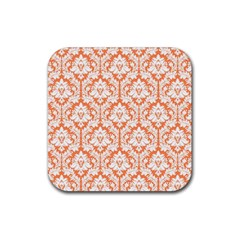 White On Orange Damask Drink Coaster (square) by Zandiepants