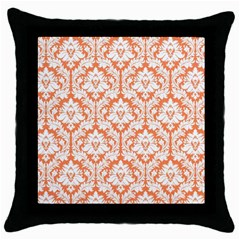 White On Orange Damask Black Throw Pillow Case by Zandiepants