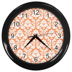 White On Orange Damask Wall Clock (black) by Zandiepants