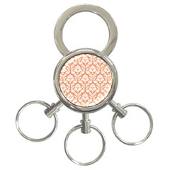 White On Orange Damask 3 Ring Key Chain by Zandiepants