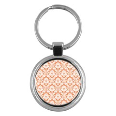 White On Orange Damask Key Chain (round) by Zandiepants