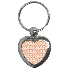 White On Orange Damask Key Chain (heart) by Zandiepants