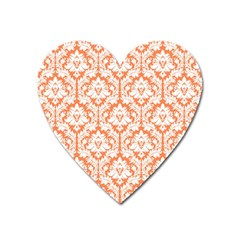 White On Orange Damask Magnet (heart) by Zandiepants