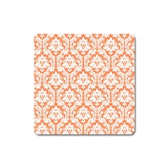White On Orange Damask Magnet (square) by Zandiepants