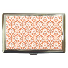 White On Orange Damask Cigarette Money Case by Zandiepants