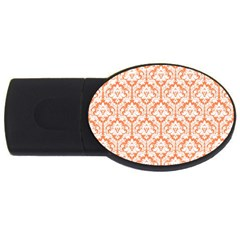 White On Orange Damask 2GB USB Flash Drive (Oval) by Zandiepants