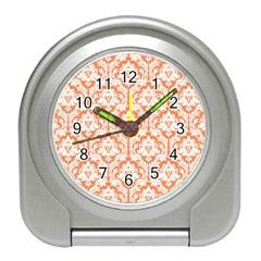 White On Orange Damask Desk Alarm Clock by Zandiepants