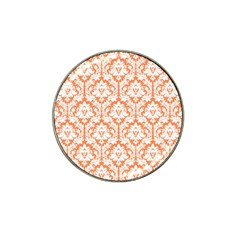 White On Orange Damask Golf Ball Marker (for Hat Clip) by Zandiepants