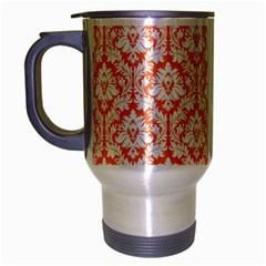 White On Orange Damask Travel Mug (silver Gray) by Zandiepants
