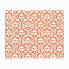 White On Orange Damask Glasses Cloth (small) by Zandiepants