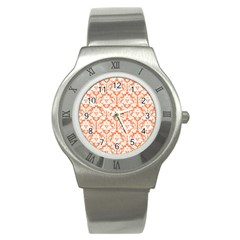 White On Orange Damask Stainless Steel Watch (slim) by Zandiepants