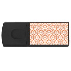 White On Orange Damask 4GB USB Flash Drive (Rectangle) by Zandiepants