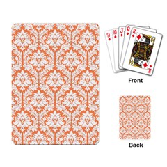 White On Orange Damask Playing Cards Single Design by Zandiepants
