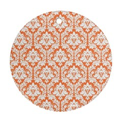 White On Orange Damask Round Ornament (Two Sides) by Zandiepants