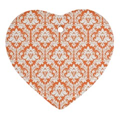 White On Orange Damask Heart Ornament (two Sides) by Zandiepants