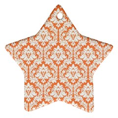 White On Orange Damask Star Ornament (two Sides) by Zandiepants