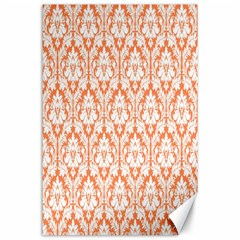 White On Orange Damask Canvas 24  X 36  (unframed) by Zandiepants