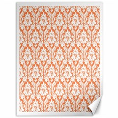 White On Orange Damask Canvas 36  X 48  (unframed) by Zandiepants