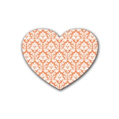 White On Orange Damask Drink Coasters (heart) by Zandiepants