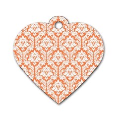 White On Orange Damask Dog Tag Heart (one Sided)  by Zandiepants