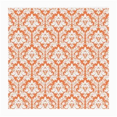 White On Orange Damask Glasses Cloth (medium, Two Sided) by Zandiepants