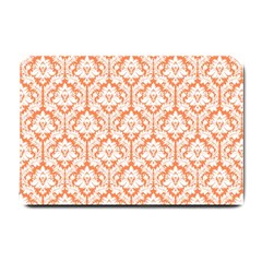 White On Orange Damask Small Door Mat by Zandiepants