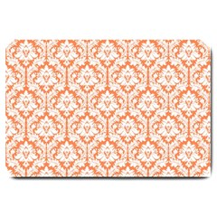 White On Orange Damask Large Door Mat by Zandiepants