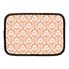 White On Orange Damask Netbook Sleeve (medium) by Zandiepants
