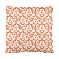 Nectarine Orange Damask Pattern Standard Cushion Case (one Side) by Zandiepants