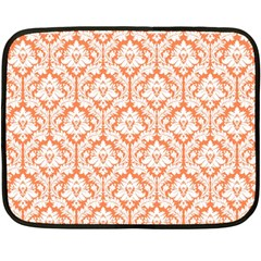 White On Orange Damask Mini Fleece Blanket (two Sided) by Zandiepants