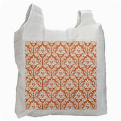 White On Orange Damask White Reusable Bag (one Side) by Zandiepants