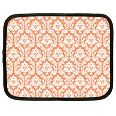 White On Orange Damask Netbook Sleeve (xl) by Zandiepants