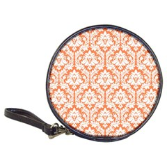 White On Orange Damask Cd Wallet by Zandiepants