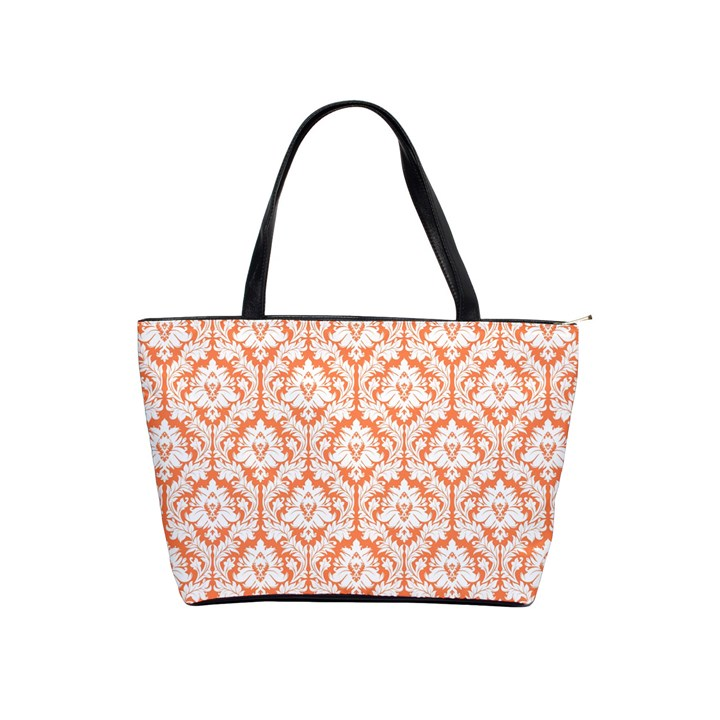 Nectarine Orange Damask Pattern Classic Shoulder Handbag