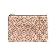 Nectarine Orange Damask Pattern Cosmetic Bag (medium) by Zandiepants