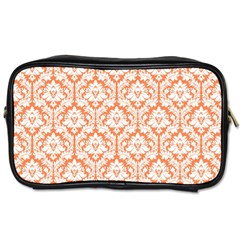 White On Orange Damask Travel Toiletry Bag (one Side) by Zandiepants
