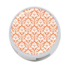 White On Orange Damask 4 Port Usb Hub (one Side) by Zandiepants