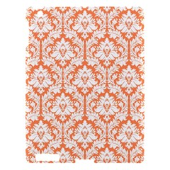 White On Orange Damask Apple Ipad 3/4 Hardshell Case by Zandiepants