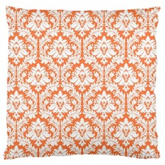 Nectarine Orange Damask Pattern Large Cushion Case (two Sides) by Zandiepants