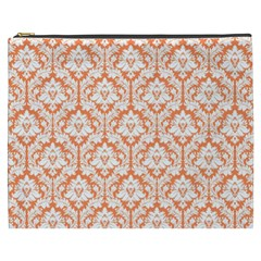 Nectarine Orange Damask Pattern Cosmetic Bag (xxxl) by Zandiepants