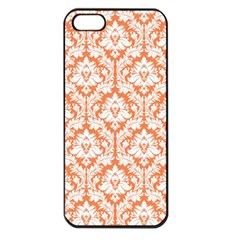 White On Orange Damask Apple Iphone 5 Seamless Case (black) by Zandiepants