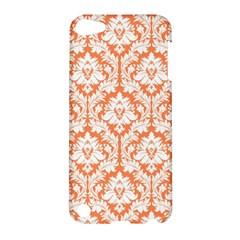 White On Orange Damask Apple Ipod Touch 5 Hardshell Case by Zandiepants