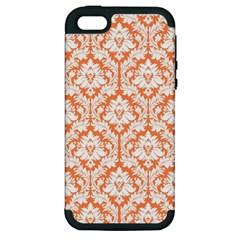White On Orange Damask Apple Iphone 5 Hardshell Case (pc+silicone) by Zandiepants