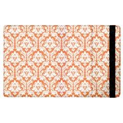 White On Orange Damask Apple Ipad 2 Flip Case by Zandiepants