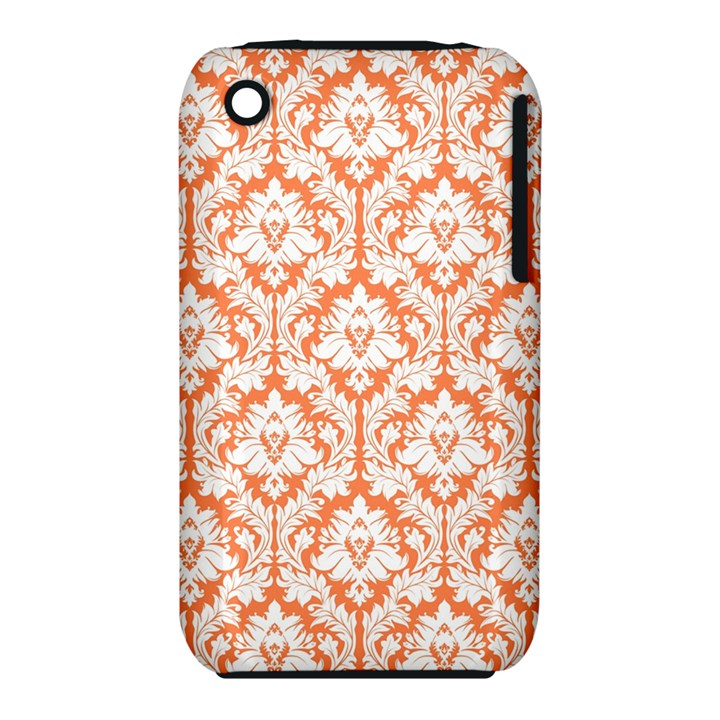 White On Orange Damask Apple iPhone 3G/3GS Hardshell Case (PC+Silicone)