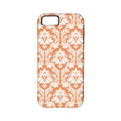 White On Orange Damask Apple Iphone 5 Classic Hardshell Case (pc+silicone) by Zandiepants
