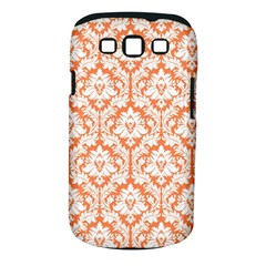 White On Orange Damask Samsung Galaxy S Iii Classic Hardshell Case (pc+silicone) by Zandiepants