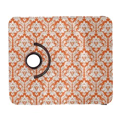 White On Orange Damask Samsung Galaxy S  Iii Flip 360 Case by Zandiepants