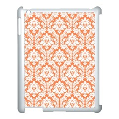 White On Orange Damask Apple Ipad 3/4 Case (white) by Zandiepants