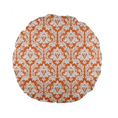 Nectarine Orange Damask Pattern Standard 15  Premium Round Cushion  by Zandiepants